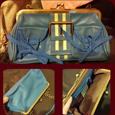 Blue hand bag leather Colour Blue gold plate chain small size can good condition no scratch very lovely (like new) very good condition no Bags