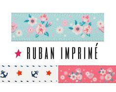 Rubans imprimés à motifs fleurs ou ancres // 10 mm / à partir de 1,30€ >> Tous les rubans imprimés : https://www.perlesandco.com/advanced_search_result.php?keywords=ruban+imprim%E9&save=