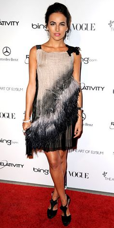 Camilla Belle in an Alberta Ferretti design to the Art of Elysium Gala, with Brian Atwood heels and Cartier diamonds.