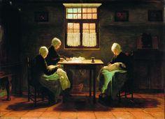 *Josef Israëls. Orphan Girls of Katwijk, second half of the 19th century* #wees #ZuidHolland #Katwijk