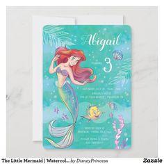 Little Mermaid Invitations, Princess Birthday Invitations, Mermaid Theme Birthday, Little Mermaid Birthday, Disney Birthday, Summer Birthday, The Little Mermaid, Funny Birthday, 3rd Birthday