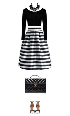 """""""stripes"""" by ecem1 ❤ liked on Polyvore featuring Chicwish, Givenchy, Boohoo, Chanel, Swarovski, women's clothing, women, female, woman and misses"""