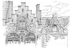 full page detailed drawing facade study of Medieval Brugge   Brugge, Belgium 24.12.2015