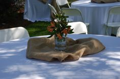 Stevie and Matthew's Burlap Reception Centerpieces- Squires Farm Weddings and Events