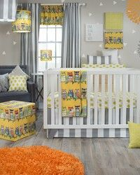 Lil Hoot nursery bedding by Glenna Jean. Bright yellow and grey with whimsical hoot owls for your baby nursery.