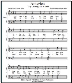 "Another FREE printable sheet music version of My Country 'Tis of Thee also known as ""America"".  Hands together, parallel motion, eighth note pairs & dotted quarter eighths"