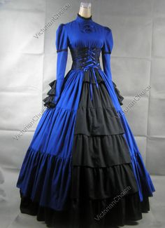 Gothic Victorian Corset Dress Ball Gown Steampunk Costume Reenactment 068 L