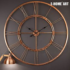 E-HOME®  Round Gold Metal Wall Clock One Pcs – USD $ 73.94
