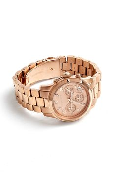 Rose Gold Chronograph Watch With Rose Gold Dial by Michael K