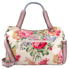Bloomsbury Bouquet Zipped Handbag with Detachable Strap | Cath Kidston | Elegant and essential for every day, this medium size handbag is a smart solution for meetings or making a memorable first impression. Wear across the body or carry with the handle.