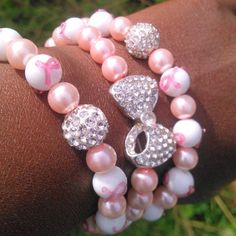 Fight like a GIRL Pink October--Breast Cancer Awareness bracelet by nubiannaturals on Etsy