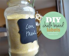 DIY Chalk board labels made with a can of chalkboard spray paint and contact paper.