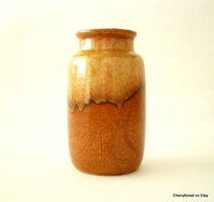 Vintage West German, Scheurich 231-15. Honey and amber drip glaze, Mid Century Modern vase. by Cherryforest on Etsy