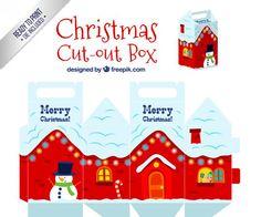 """Descarga este troquel para crear tus propias cajas navideñas y sorprender a tus amigos o familiares con un regalo navideño bien personalizado.  En esta oportunidad les comparto este troquel en vectores para que puedan abrirlo en Illustrator o Corel y así reemplazar el diseño que ya está vectorizado por el diseño que a ustedes les agrade. Estas cajas que comparto tienen un motivo navideño con una casa roja con nieve en sus techos y un snowball o """"muñeco de nieve"""" en la puerta. Saludos…"""