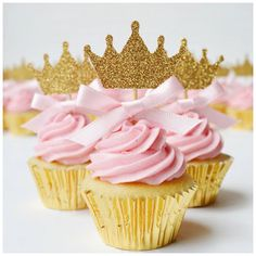 pink bow gold glitter crown cupcake topper