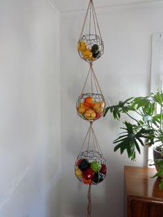 Handmade Three Tier Wire Sphere Basket Set With By CharestStudios