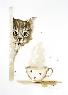 Cat And Coffee Cup   Painted With Coffee And Ink