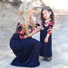 Mother Daughter Matching Dresses Mommy and Me Floral 34 Sleeves Long Maxi Dress Mother Daughter Dresses Matching, Matching Family Outfits, Matching Clothes, Mother Daughter Outfits, Cute Flower Girl Dresses, Girls Dresses, Mommy And Me Outfits, Girl Outfits, Mommy And Me Dresses