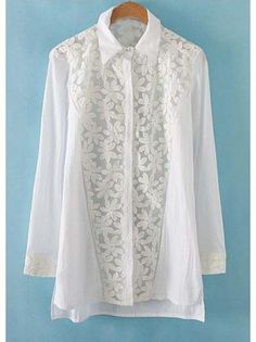 All Match White Long Sleeve Shirts with Lace