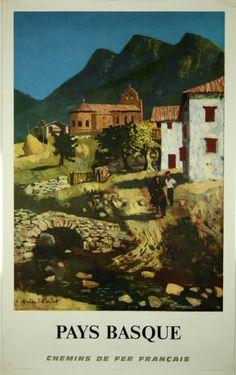Affiche Pays Basque SNCF 1968 Roland Oudot