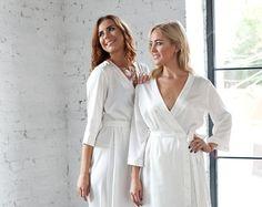 Long White Dressing Gown/ White Satin Robe/ Brides Wedding