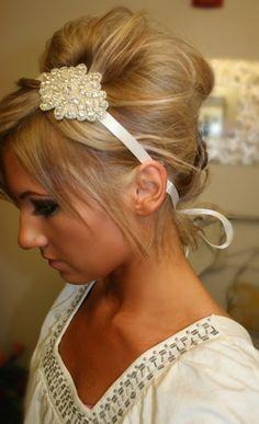 Rhinestone Bridal Headband- KELLY, Wedding Headpiece, Headband, Accessories, Bridal, Wedding, Hair Accessory, Ribbon Hair Piece. $34.95, via Etsy.