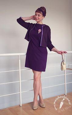 Punto jersey dress: made by me Pattern: #105, Burda 1/2012 (1967's reprint) Cardigan:made by me Pattern: 120 A, Burda 8/2011 Wedges: CCC Bag: Baron Brooch: vintage (50s)
