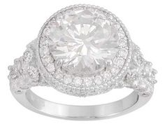 Charles Winston For Bella Luce (R) 7.23ctw Rhodium Plated Sterling Silver Ring