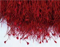 Detail of Grethe Wittrock: Heart Blood, 2003. Walhanging, dyed paper-yarn in 6 red colours/some lacquered, knotted on steelplate, 140 x 120 cm.