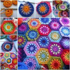 Hexagon Granny Square Crochet Blanket FREE Pattern