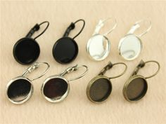 WYSIWYG 10pcs 12mm 4 colors Copper Material French Lever Back Earrings Blank/Base Bezels