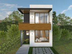 Small, but efficient. 3 Storey House Design, House Front Design, Small House Design, Modern House Design, Narrow House Designs, Narrow Lot House Plans, Tyni House, Loft House, Tiny House Exterior