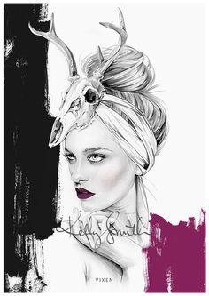 Kelly Smith illustration: Vixen - LIMITED EDITION PRINT