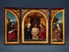 #Masterpiece #London 2016 - #Senger #Bamberg Kunsthandel - sourcing the exceptional - #Jacob #Cornelisz van Oostsanen - #triptych - Man of Sorrows, Virgin Mary and Saint John the Evangelist