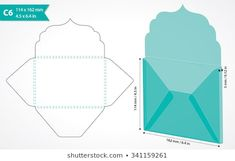 Die Cut Envelope Template Vector Stock Vector (Royalty Free) 337449935 - Envelope template with flap design. May be used for thank you notes, wedding, gift ta - Envelope Carta, Diy Gift Box, Diy Box, Diy Gifts, Envelope Template Printable, Paper Crafts Origami, Save The Date Cards, Scrapbook Cards, Paper Crafts