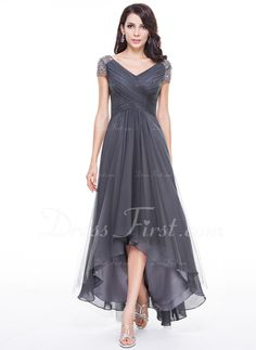 Hot MOB :) A-Line/Princess V-neck Asymmetrical Tulle Evening Dress With Ruffle Beading Sequins (017056519)