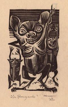 """Lorenzo Homar: """"Los Renegados,"""" 1962 Ilustraciones en xilografía sobre papel"""