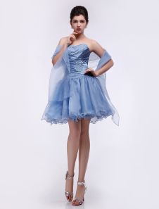 dbb6998a2c0c Sky Blue Satin Organza chérie Mini robe de bal Quinceanera Dresses