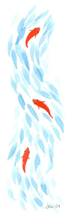 Items similar to Three Koi - Watercolor 3.5x10 Print on Etsy