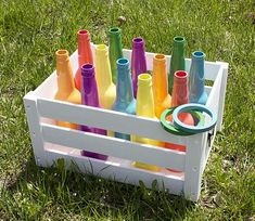 Recycled Bottle Ring Toss Backyard Game — Take the fun and games outside this summer. Recycled Bottle Ring Toss Backyard Game — Take the fun and games outside this summer. Backyard Party Games, Diy Yard Games, Diy Games, Backyard For Kids, Diy For Kids, Birthday Ideas For Kids, Backyard Carnival, Garden Games, Lawn Games
