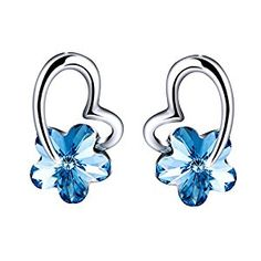 """Snow Flower"""" Blue Stud Earrings Jewelry set, Made with Swarovski Crystals, Jewelry for Women, Mothers Day Gifts Save 5% each on Qualifying items offered by Sivery Jewelry when you purchase 2 or more. Enter code QBRPU37B at checkout. This product features a sparkling Swarovski Elements Crystal in beautiful blue . The """"Snow Flower"""" Stud Earring describes a cheerful, happy-go-lucky attitude, and symbolize the sweet love. The earrings are completely Lead-Free & Nickle-Free, so as to reduce the…"""