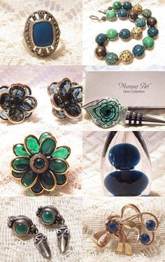 Lovely Blues and Greens from Viks Vintage Jewelry! by Christine Rivera on Etsy--Pinned with TreasuryPin.com