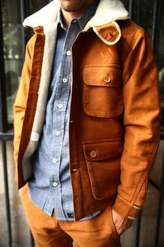 Cognac leather & denim shirt, nice combo!