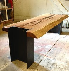 Gorgeous industrial/natural bench by Michelle de la Vega! I want a kitchen table like this! michelledelavega....