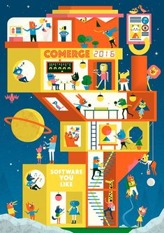 Ben Newman - Illustration for Comerge calendar 2016 Tiphaine-illustration Robots Drawing, Drawing School, Robot Art, Typography Prints, Illustrations And Posters, Cute Art, Illustration Art, Building Illustration, Illustrators