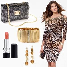 Dress, jewelry and bag from Caché, lipstick by Dior #HeadToToeThursday
