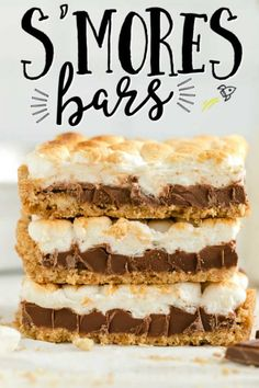 three smores bars with mini marshmallows stacked on top of one another Mini Desserts, Easy Desserts, Delicious Desserts, Yummy Food, Potluck Desserts, Smores Bar Recipe, Cookie Recipes, Dessert Recipes, Candy Recipes