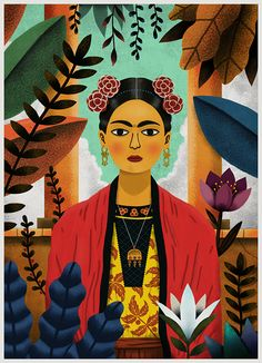 Frida Kahlo on Behance Graphic Design Illustration, Illustration Art, Freida Kahlo, Hispanic Art, Spanish Art, Tropical Art, Woman Painting, Surreal Art, Wall Collage
