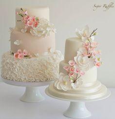Cherry Blossom Wedding Cakes by Sugar Ruffles Cakes Small Wedding Cakes, Amazing Wedding Cakes, Elegant Wedding Cakes, Wedding Cake Designs, Elegant Cakes, Trendy Wedding, Gold Wedding, Chic Wedding, Floral Wedding