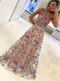 floral embroidery prom dress, 2018 long prom dress, graduation dress formal evening dress